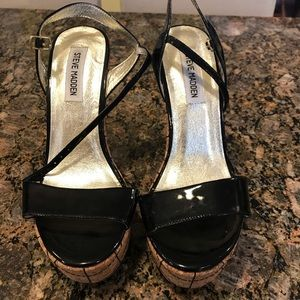 Steve Madden Black Patent Leather Sandals size 8